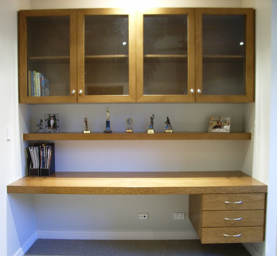 Built in study desk with overhead cabinet for Built in study table