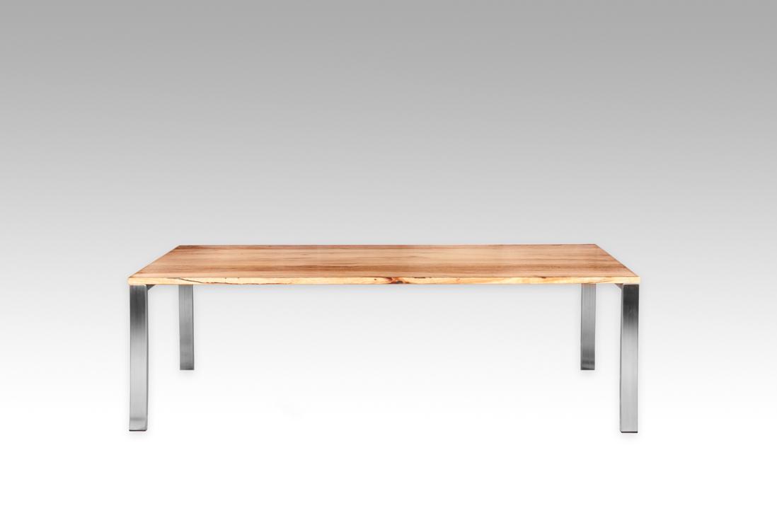 Zen Dining Table Marri Top Stainless Steel Frame