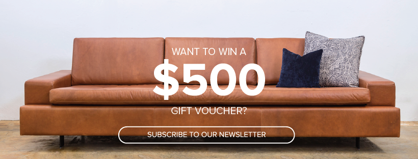 Lifestyle Furniture Competition Win $500 when sign up to email list on top of brown leather sofa