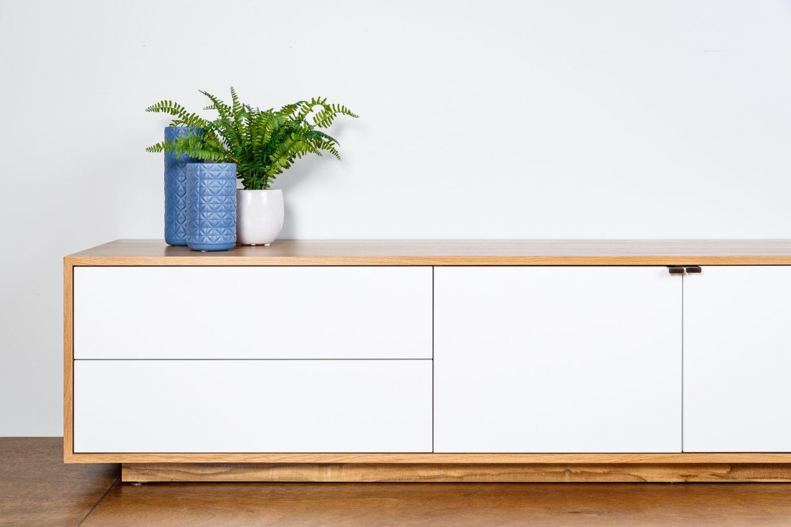 Tribeca Lowline TV Unit - timber with white satin drawers & marri veneer