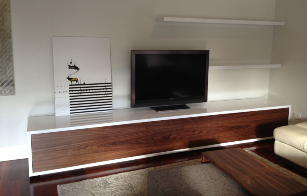 Venue Lowline TV Unit - White Satin Drawers with timber frame