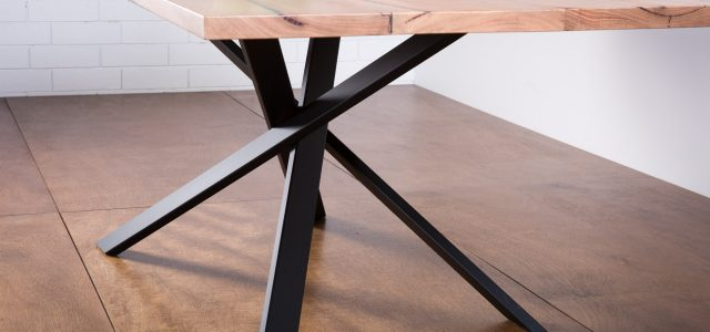 Lecco Dining Table marri top on steel base